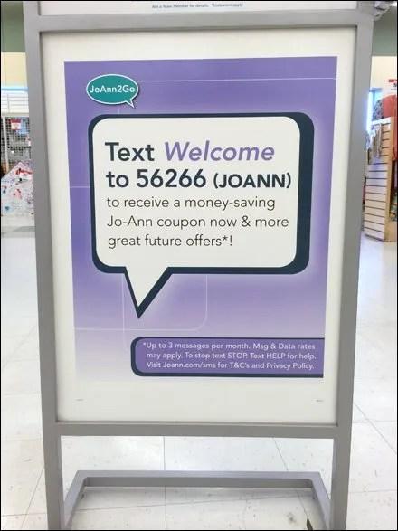 Jo-Ann TEXT Welcome Discount