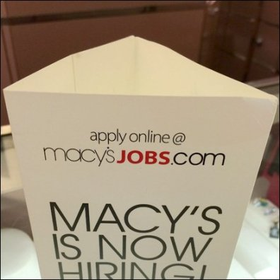 Macy's Hiring Triangular Standup Main