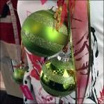 Poinsettia Apron With Christmas Balls