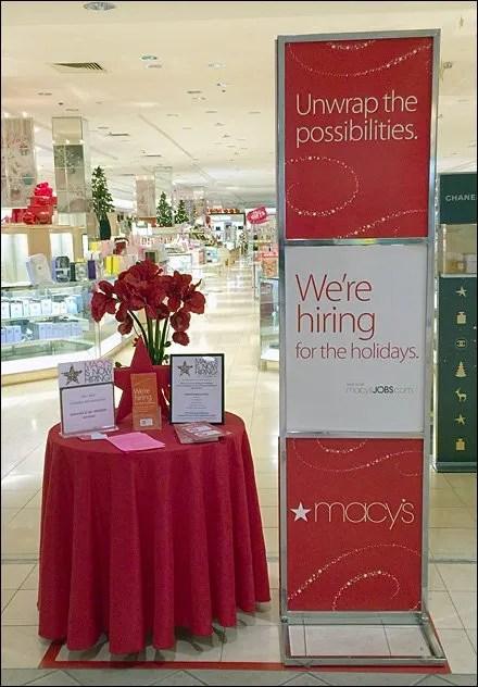 Macy's Holiday Hiring as Retail Merchandising Store Fixture Main