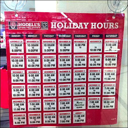 Modell's Holiday Hours Main