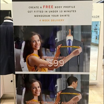 Book A Tailor Dress Shirt Kiosk Sign