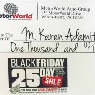 $1,000 Black Friday Check Detail