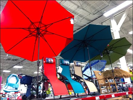 Beach Umbrella Display Overhead