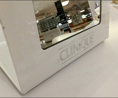 Clinique Brand Cosmetics Mirror and Makeup Station