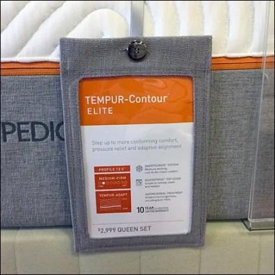 Tempur-Pedic Button-Down Hang Tag