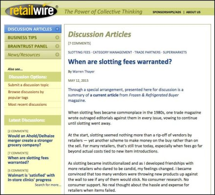 RetailWire - When Are Retail Slotting Fees Warranted?