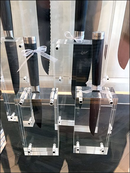 Acrylic Block Display of Knife Selection
