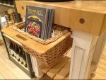 Butcher Block with Wicker Drawer CloseUp