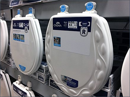 Lowes Mass Merchandising Toilet Seats on Pallet Rack