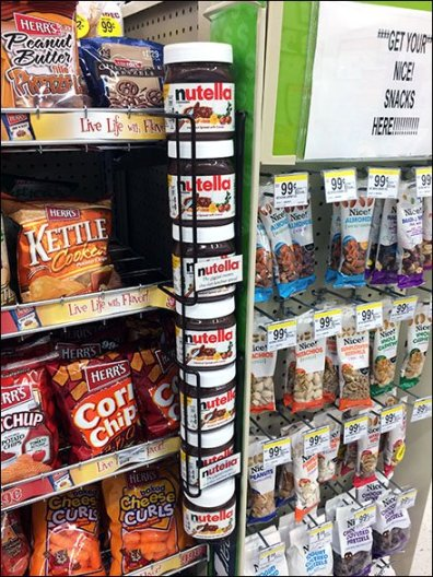Nutella Shelf-Edge Gravity Feed Rack for Spreads