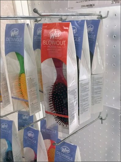 Translucent Plastic Pegboard Color-Coded Brush Display