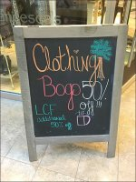 Clothing BOGO Sidewalk-Sign Moves Outside