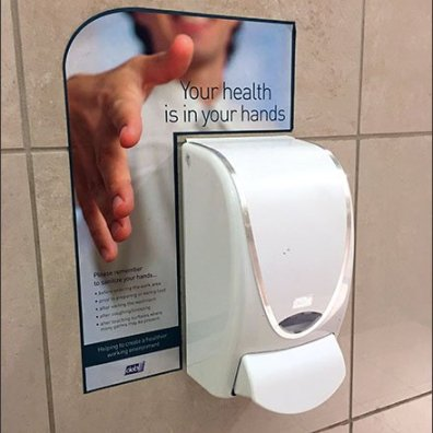 Mall Hand Sanitizer Offers Asymmetric Hand Shake