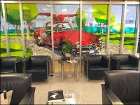 Mercedes Benz Stained Glass Retail Staging