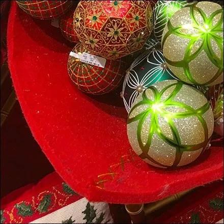 Christmas Ornament Soft Sided Bulk Bin Corner Stitch CloseUp