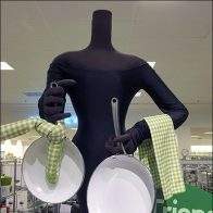 Green Cookware Merchandising in Black-and-White