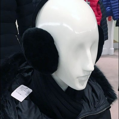 Black on White Earmuff Merchandising Aux