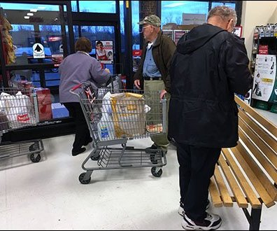 Retail Bench At Grocery Rush Hour