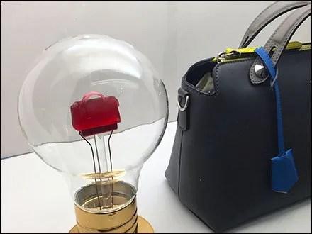 ea2224a09 Fendi Miniature Purse Lightbulb Display – Fixtures Close Up