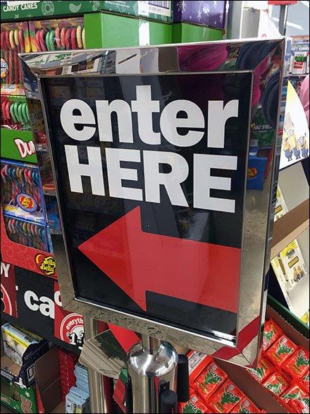 Queue Enter Here Closeup