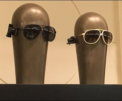 Ray Ban Alien Headforms on Display