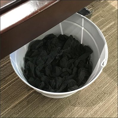 Try-On Socks Bucket Dispenser Closeup