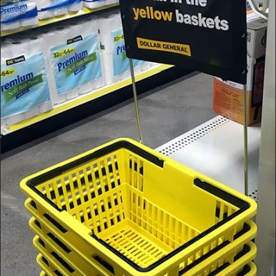 Dollar General Yellow Branded Shop Carry Basket