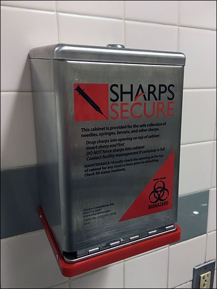 Restroom Sharps Container for Safety