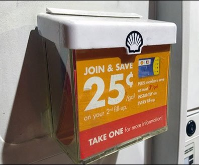 Shell Join & Save Gas Pump Literature Holder Main