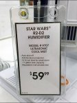 Star Wards R2D2 Humidifier Label Tag CloseUp