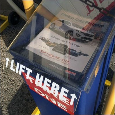 Costco Outdoor Auto Sales Literature Holder