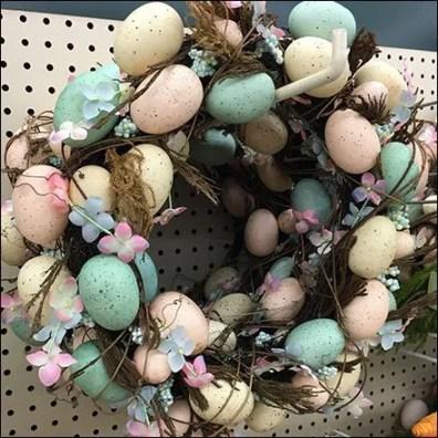 Easter Egg Wreaths Pegboard Hooked Closeup