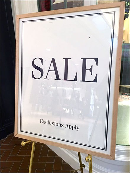 Elegant Sale Exclusions Apply Sign Easel