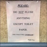 Toilet Will Overflow Warning CloseUp
