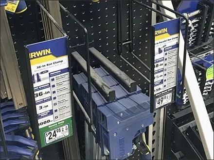 Irwin Bar Clamp Pegboard Hook Vertical C-Cannel Main