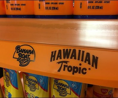 Hawaiian Tropic Banana Boat Display Label Strip 2