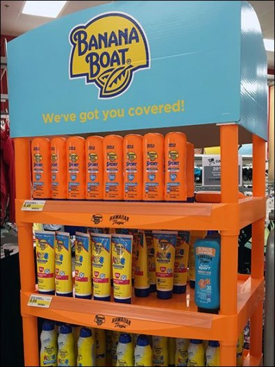 Hawaiian Tropic Banana Boat Suntan Lotion Display 2
