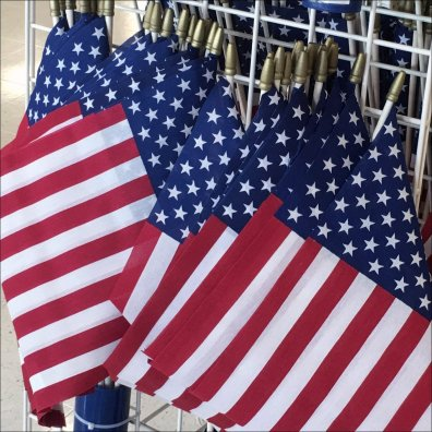 Patriotic Flags Quiver Hung on Grid Feature