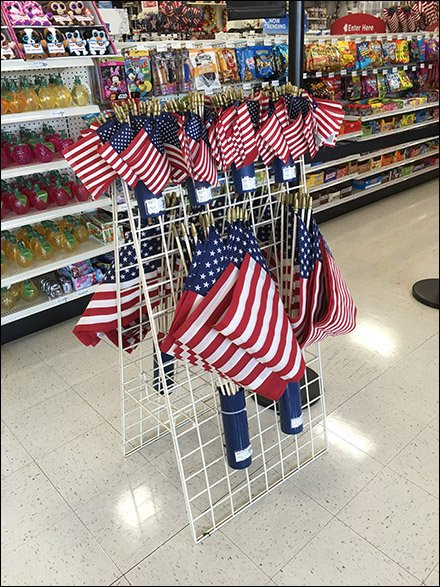 Patriotic Flags Quiver Hung on Grid Main