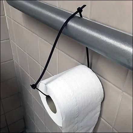 Restroom Toilet Paper Zip Tie Feature
