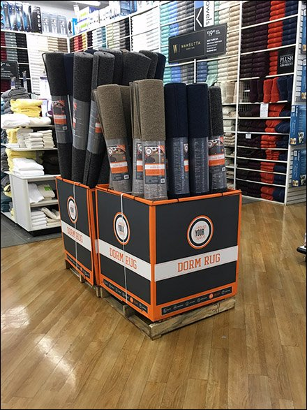 Dorm Rug Equip Your Space Pallet Display 1