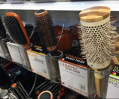 Hairbrush Holster for Shelf-Edge Bulk Bin Merchandising