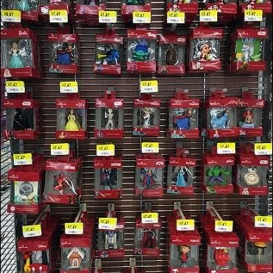 """Hallmark Christmas Ornaments on 1"""" Grid Plastic Scan Hooks"""