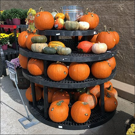 Lazy Susan Dunnage Rack Tower of Fall Pumpkins