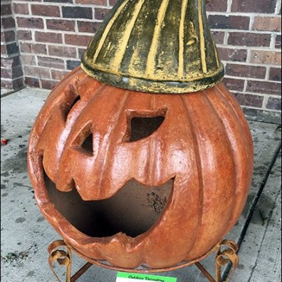 Wood-Crate Bleacher of Terracotta Halloween Pumpkins