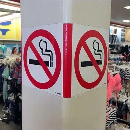 No-Smoking Column Wrap Warning