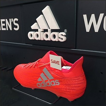 Plug-In Wire Ledge Adidas Retail Fixtures and Displays