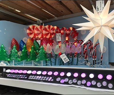 Christmas Lollipop Lights at Shelf Edge