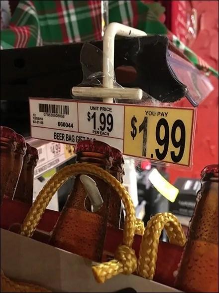 Beer Gift Bags Sold By Strip Merchandiser